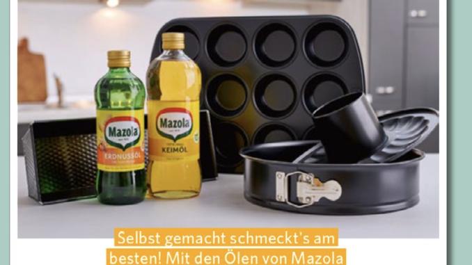 4-teiliges Backset und Mazola Öl zu gewinnen